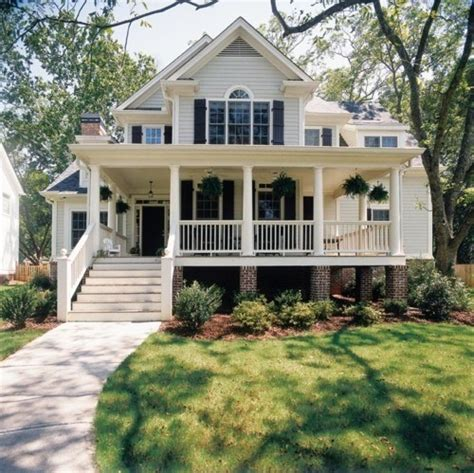 Big Front Porch House Plans by White Home Home House Steps Suburbs Shutters Front