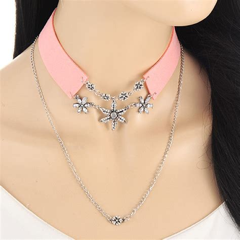 Kn71739 Kalung Choker Layer Pink Flower fashion pink flower pendant decorated layer simple