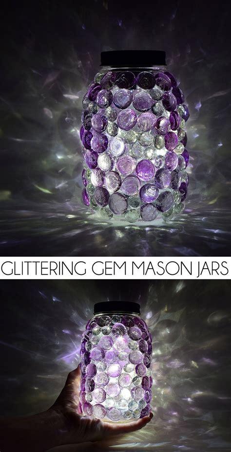 glittering gem mason jars  diy solar lids dream