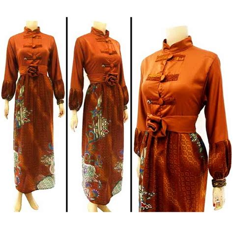 Batik Kombinasi Katun Coklat baju dan busana muslim wanita gamis batik coklat