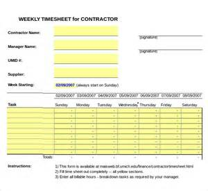 Excel Template For Timesheet by 12 Contractor Timesheet Templates Free Sle Exle