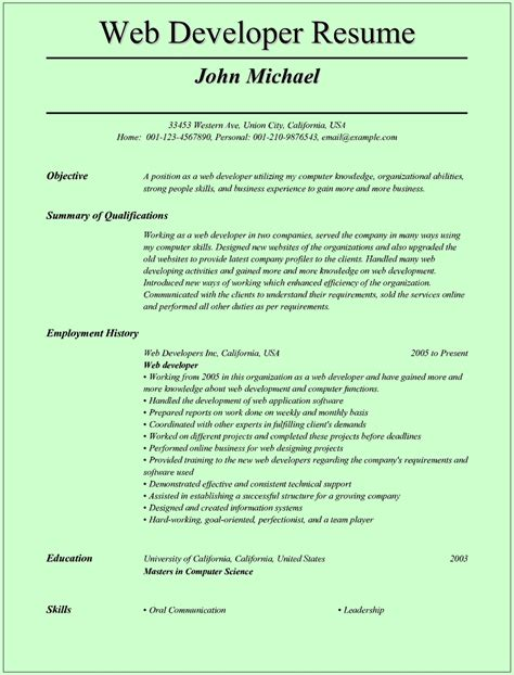 resume format for developer web developer resume template for microsoft word doc