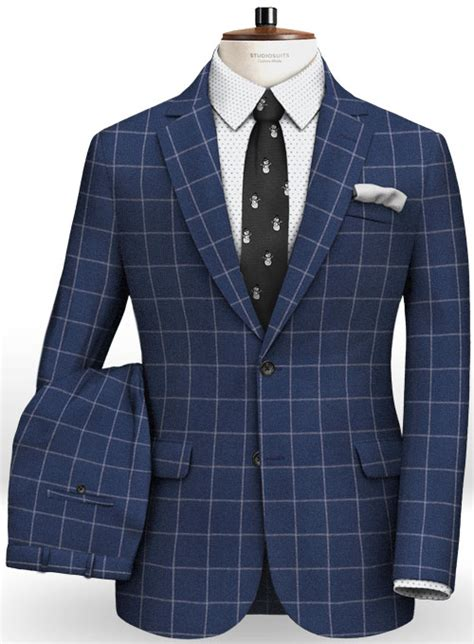 blue windowpane flannel wool suit studiosuits