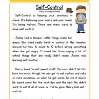 self control worksheets self control character reading comprehension worksheet
