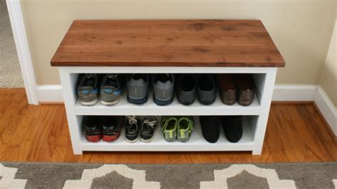 shoe shelf bench diy adjustable shoe storage bench fixthisbuildthat