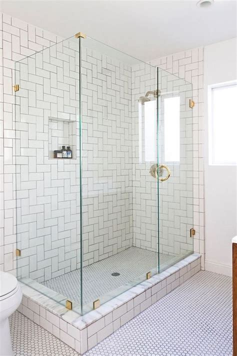 white subway tile walk in shower 33 chic subway tiles ideas for bathrooms digsdigs