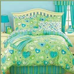 Teen girls bright lime green and aqua bedding set hearts and polka