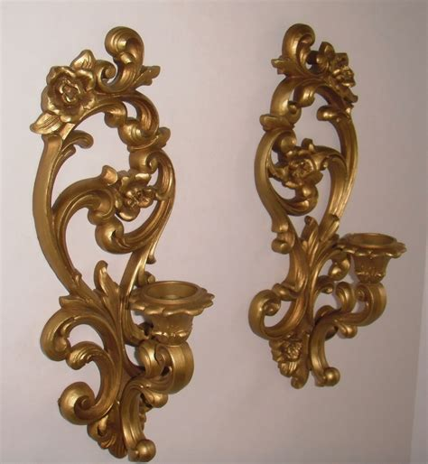 Gold Wall Sconce Candle Holder Gold Tone Homco Wall Sconce Candle Holder Set 1971