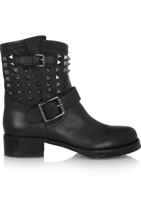 valentino studded leather biker boots in black lyst