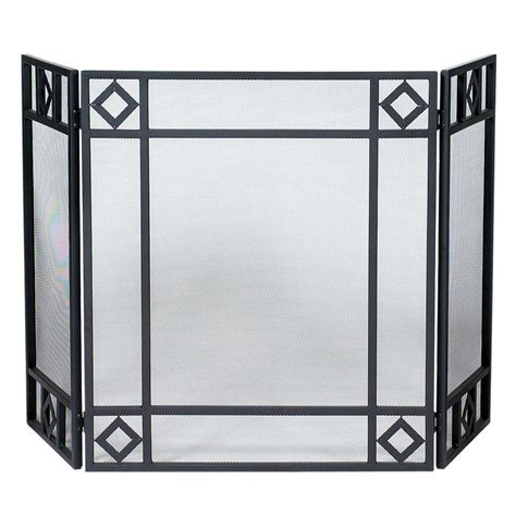 UniFlame Black Wrought Iron 3 Panel Fireplace Screen with