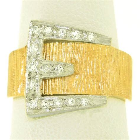 1920s deco set white gold buckle ring for sale
