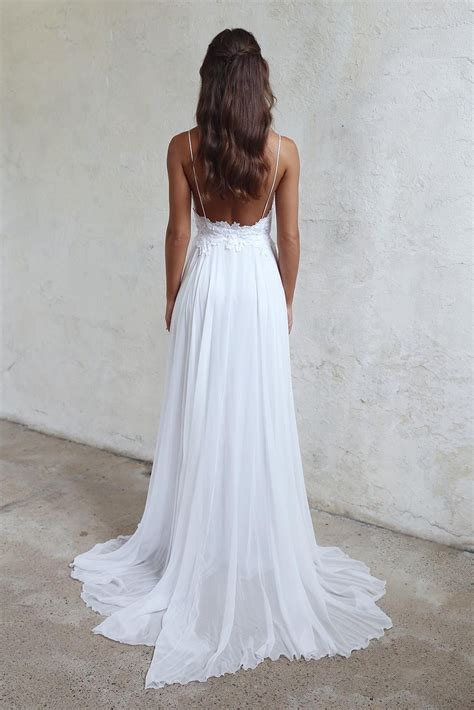 Wedding Dresses Summer by Simple A Line Spaghetti Straps Open Back Summer Wedding Dress
