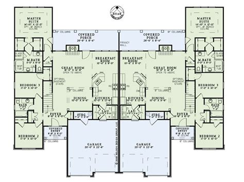 duplex townhome plans house plans multi family