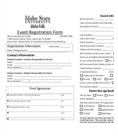 event registration card template sle registration forms beneficialholdings info