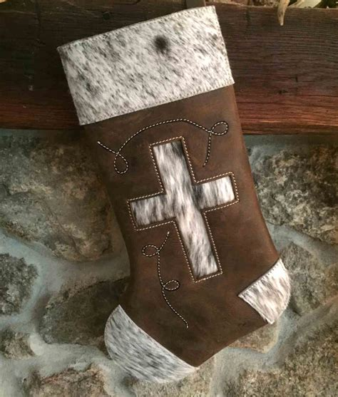 Outdoor Game Room - embellished cowhide christmas stockings rustic artistry