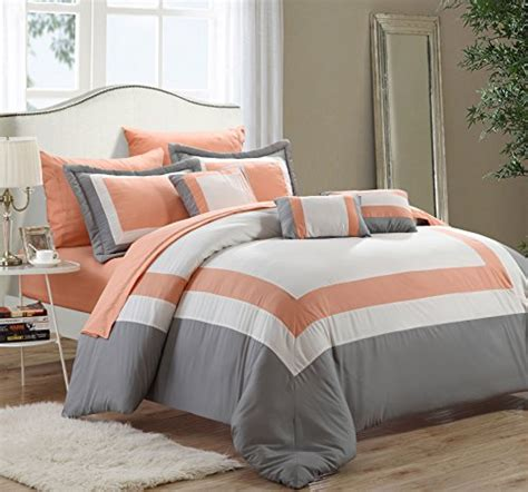 Chic Home 10 Piece Duke Bed In A Bag Queen Peach Duke Bedding Set