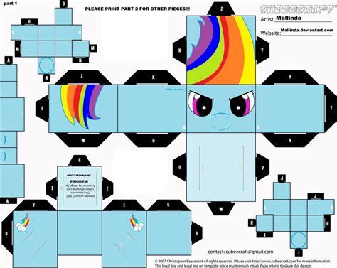 New Papercraft - new rainbowdash cubee craft part 1 by mallinda on deviantart