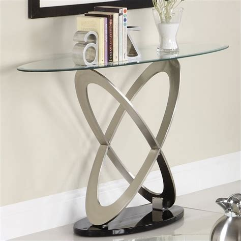 contemporary glass sofa table trent home firth sofa table in chrome and espresso 3401 05