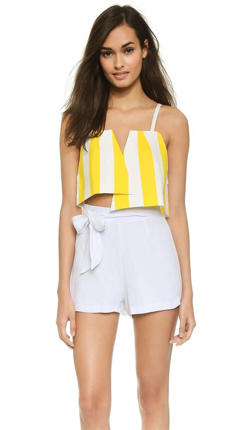 Yellow White Stripes Top lyst jacquemus two triangles striped crop top yellow white stripes in yellow