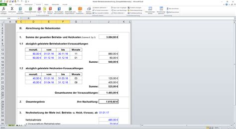 Muster Formular Nebenkostenabrechnung muster betriebskostenabrechnung
