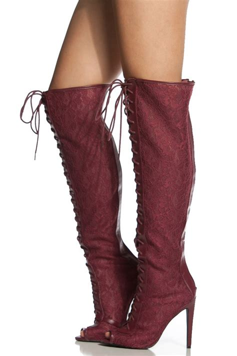 burgundy lace thigh high lace up peep toe boots cicihot