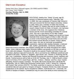 Template For Obituary by Sle Obituary Template 11 Documents In Pdf Word Psd