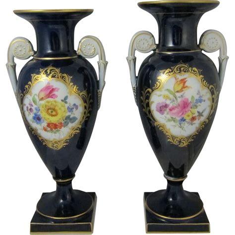Meissen Vases by Pair Of Antique Meissen Painted Porcelain Flower Vases Cobalt Blue