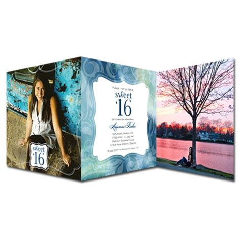 folding book invitations for a dreamy sweet sixteen z fold photo invitations paperstyle