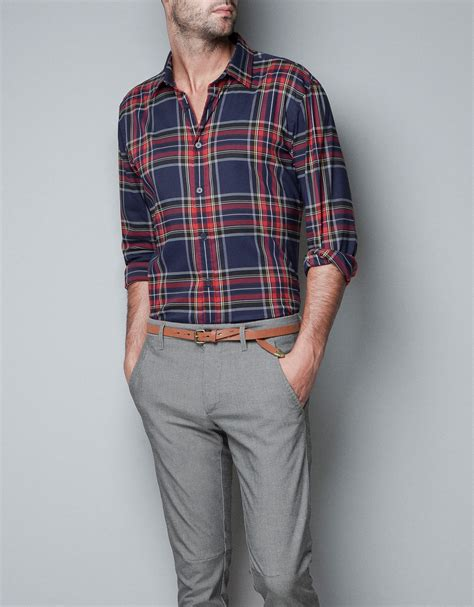 Zaraman Cotton Shirt zara check shirt in blue for lyst