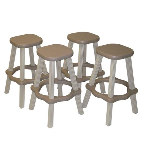Resin Outdoor Bar Stools by Leisure Accents 26 In Taupe Resin Patio High Bar Stools