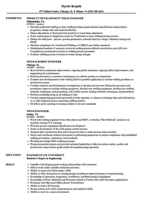 Welding Engineer Resume by Weld Engineer Resume Sles Velvet