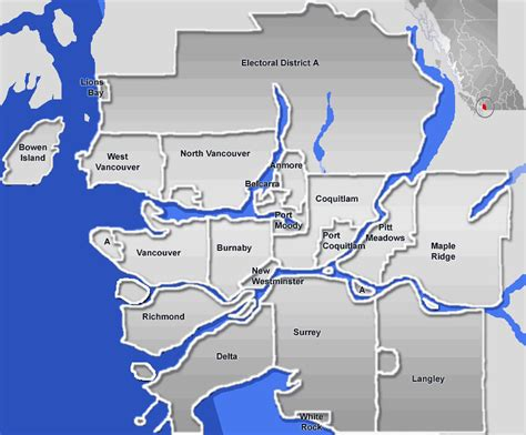 map of greater greater vancouver area mapsof net