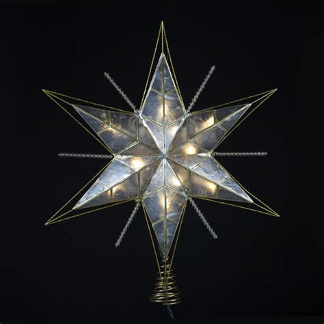 6 quot lighted gold and ivory capiz five point star christmas