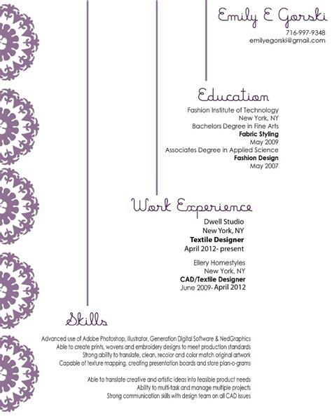 Textile Design Resume Sles About Me Resume Emily Gorski