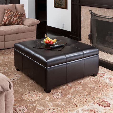 Spacious Espresso Leather Storage Ottoman Coffee Table W Living Room Ottoman Coffee Table