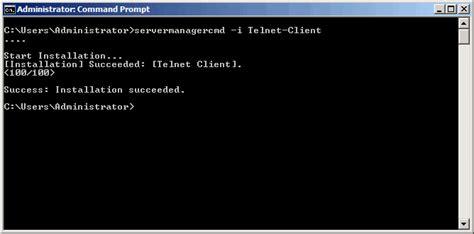 telnet command enabling telnet client in windows server 2008 and windows