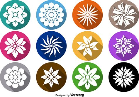 Set Flower flower icon vector set free vector stock
