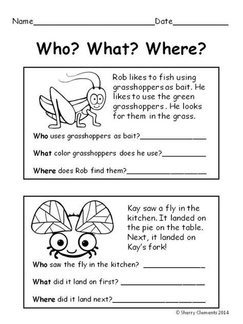 reading comprehension test year 1 bugs reading comprehension who what where summer
