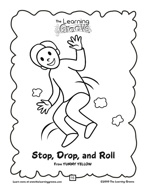 stop drop and roll coloring sheet sketch coloring page