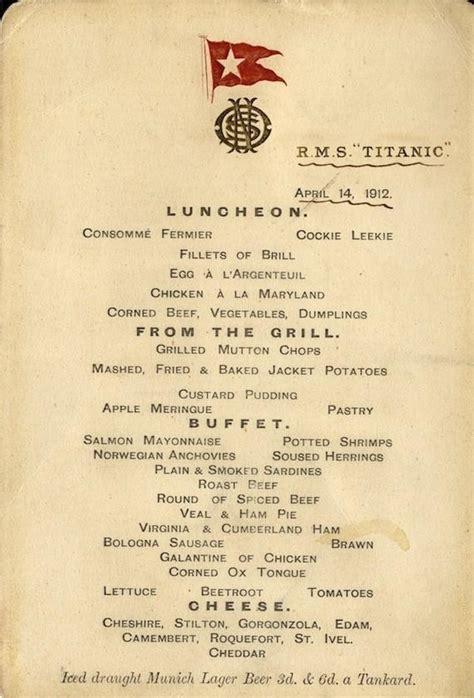 titanic first class menu titanic 3rd class menu health nutrition and fitness