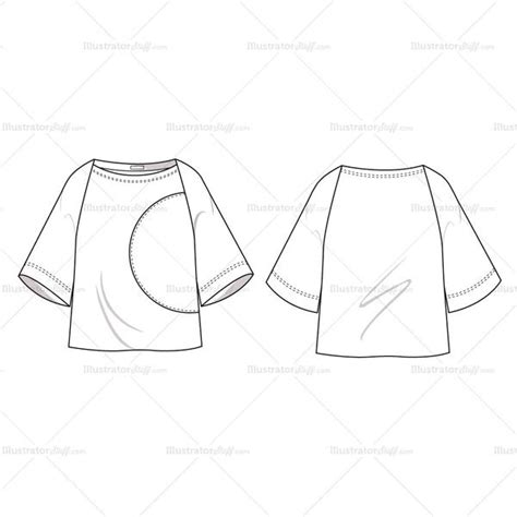 boat neck blouse drawing women s colorblock boatneck blouse fashion flat template