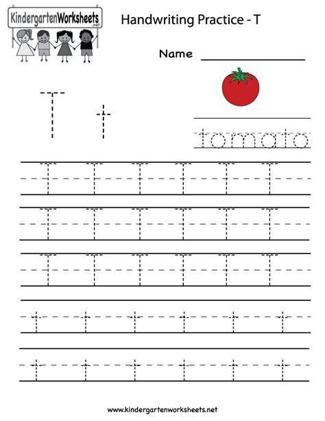 Letter T Worksheets For Pre K by Kindergarten Letter T Writing Practice Worksheet Printable