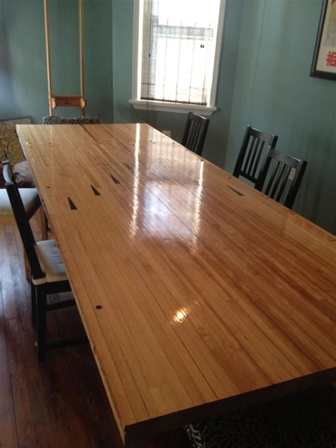 bowling dining table my roommate turned a of a bowling alley into a