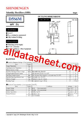 d5s6m datasheet pdf shindengen electric mfg co ltd