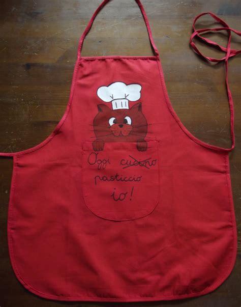 cucinare per il gatto grembiule rosso da cucina per bambini con gatto bambini