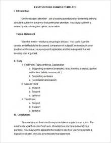 template essay outline essay outline exle