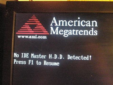 no ide master hdd detected press f1 to resume resume ideas