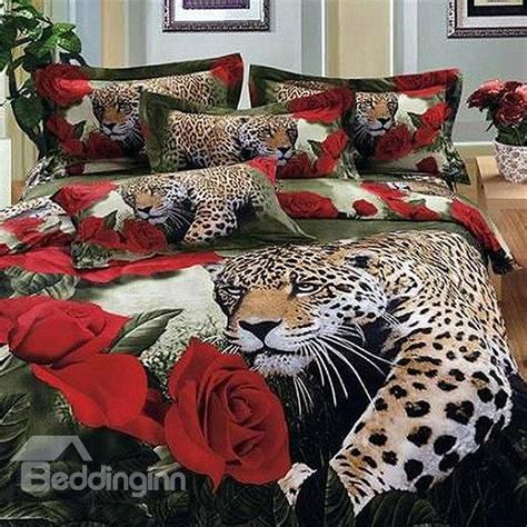 animal print bedding accessories bedding sets collections luxury leopard and roses print 4 piece 100 cotton duvet