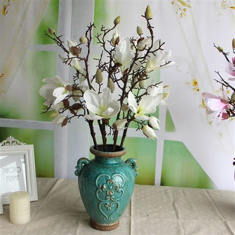 high quality decor restaurant plant silk flowers magnolia