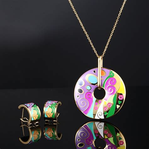 metal sts for jewelry enamel stainless steel necklace set vintage